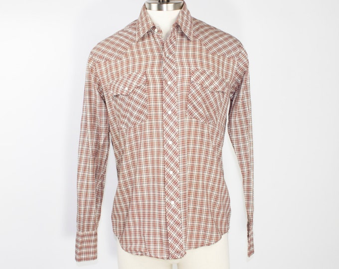 70s Vintage Western Shirt | Plaid Cowboy Shirt with Pearl Snap Buttons | Size Large | Retro Workwear Rockabilly Grunge