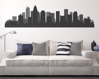 "CHARLOTTE North CAROLINA Skyline Wall Decal Cityscape up to 100"" wide Decal City Decals Sports Skyline Football Basketball Team Colors"