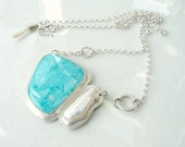 Nevada Turquoise and Pearl Custom Pendant - Battle Mountain Blue Gem Turquoise, Natural Pearl, .925 Sterling Silver Necklace Gift