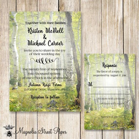 Birch tree wedding invitation rustic birch wedding invite for Magnolia tree wedding invitations