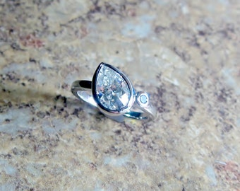 "Moissanite Diamond 14k Gold, ""Forever Brilliant"", Engagement Ring, Pear Gemstone, Made to Order"