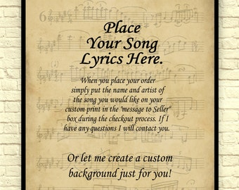 Song Lyrics Art Print, Custom Art Print, Sheet Music Art Print, Vintage Sheet Music, Custom Gift, Wedding Gift, Anniversary Gift.