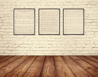 Sheet Music Art, Lullaby Sheet Music, Children's Art, Sheet Music Art Print, Lullaby Art Print, Wynken, Blynken and Nod, Nursery Art.