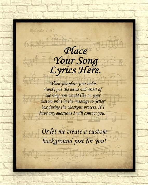 Song lyrics art print custom art print sheet music art like this item stopboris