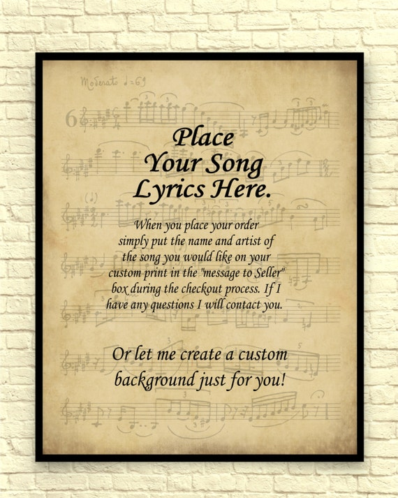 Song lyrics art print custom art print sheet music art like this item stopboris Images