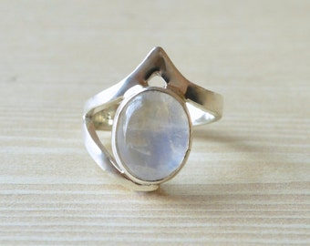 Free-form Band Moonstone Ring