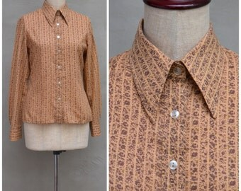 Vintage blouse, 1970's ladies shirt, Pretty brown printed blouse, Long sleeved fitted blouse with dagger collar, Skinny fit, 70's hippie