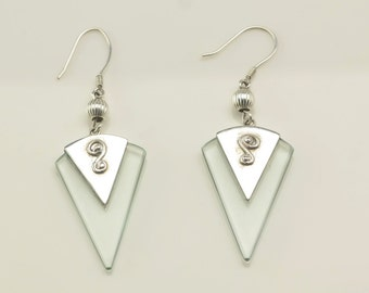 Sterling Silver Modernist Glass Earrings