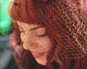 Red Bloom w/ Brown Polka Net Headress