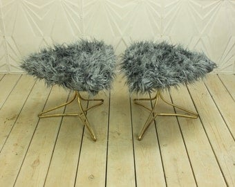 vladimir kagan pair triangle brass hairpin tripod legs grey faux fur mid century modern retro atomic