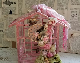 Pink Ornate Wooden Bird Cage Shabby Cottage Centerpiece Wedding Decor Nursery Decor Distressed Hand Painted Home Decor