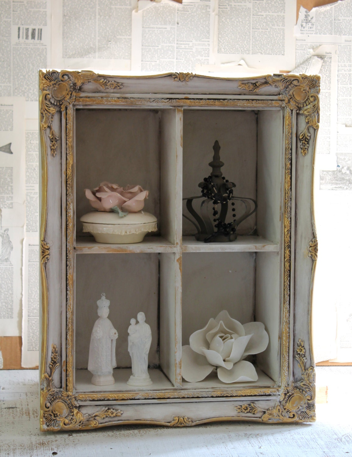 French country ornate display shelf wall shelf shadow box wall for French country shelves