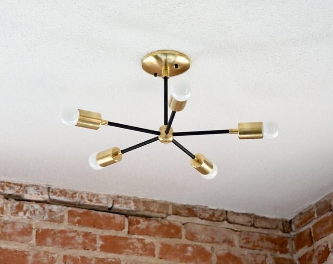 Free Shipping! Matte Black and Gold Raw Brass Modern Chandelier Five 5 Arm Pinwheel Bulb Sputnik Mid Century  Industrial Light UL Listed
