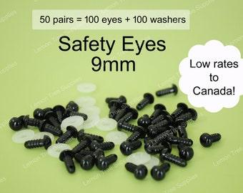 9mm Black safety eyes  - 50 pairs, eyes for stuffed toys and animals, animal eyes, doll eyes, plastic eyes