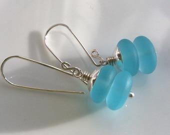 Aqua Glass Earrings    Sea Glass Earrings    Beach Glass    Sterling Silver Earrings    Summer Color