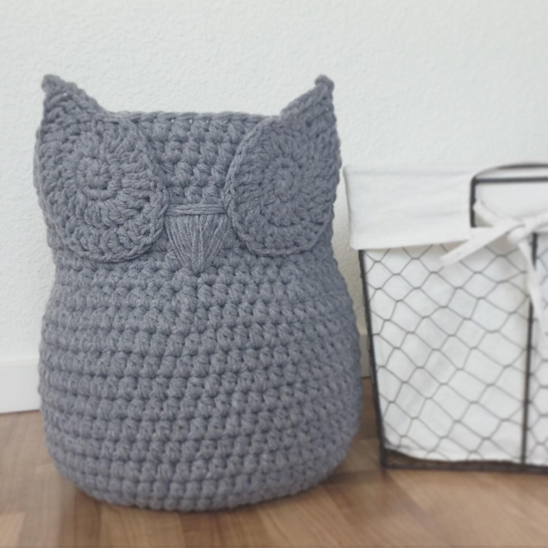 Handmade Crochet Basket : Large chic handmade crochet owl basket home decor