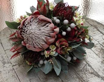 Mackenzie II, Australian Native Silk Protea Wedding Bridal Bouquet