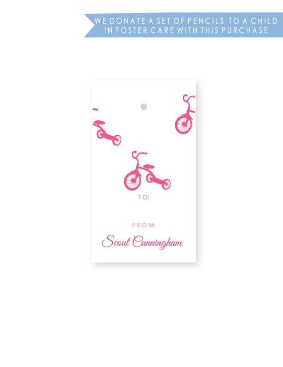 Personalized Baby & Child Birthday Gift Tags, Tricycle, Set of 10