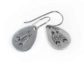 Feather Earrings - Handstamped Feather Jewelry - Boho Jewelry - Feather Jewelry - Aluminum and Surgical Steel Earrings