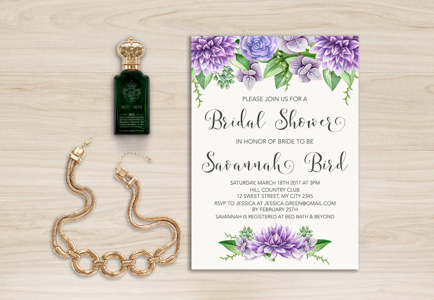 Purple Floral Bridal Shower Invitation