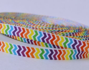 """Rainbow Zig Zag Lines Colorful Printed Grosgrain Ribbon 3/8"""" Wide Scrapbooking HairBows Parties DIY Projects AZ517"""