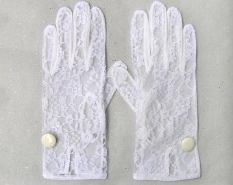 Lace Bridal Gloves, White Lace Gloves, Wedding Lace Gloves, Wedding Accessories, White Gloves with Metal Enamel Button