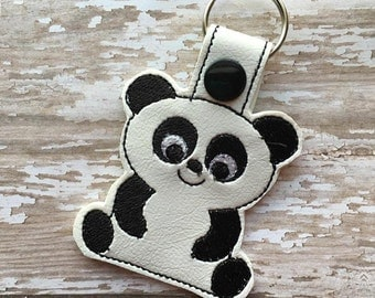 Panda Bear  - Snap/Rivet Key Fob - DIGITAL Embroidery Design