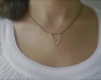 V Necklace, Triangle , Modernist, Vertex Necklace, Gift For Her