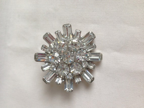 WEISS Brooch Silver Clear Round and Baguette Stacked  Rhinestones Bridal