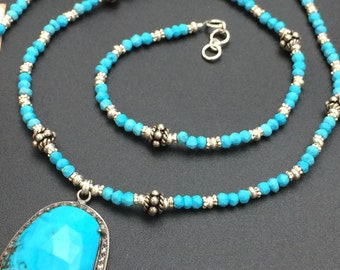 Sleeping Beauty Turquoise Necklace, Diamond Necklace, Statement Necklace, Gemstone Necklace, Beaded Necklace, Angel Wear Designs