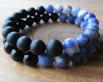 Black Onyx and Sodalite Bracelet Set for Men, Couples Bracelets, His and Her Bracelets, Stacking Bracelet, Beaded Bracelets, Gift for Him