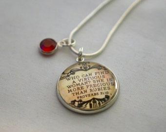 "Proverbs 31:10 Silver Glass Charm Necklace with Swarovski Rhinestone, 18"""