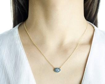 14K Greek Evil Eye Pendant Necklace. 14K Solid Yellow Gold.