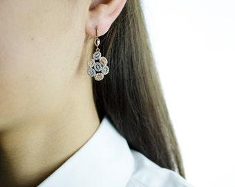 14K Gold Zirconia Drop Earrings. 14K Rose Solid Gold. White Cubic Zirconia. Latch Earring Backs