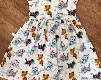 Girls Dress - Girls Cat Dress - Girls 1st Birthday Party Dress - Kittens - Cute Kitty Dress - Gift for Daughter - Toddler Girl Kitten Dress