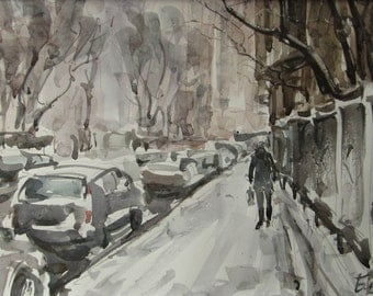 Snowfall - original watercolor