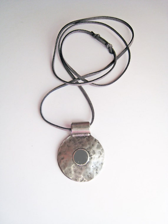 Bohemian necklace, grey necklace, boho tribal pendant, contemporary minimalist, ash grey resin necklace, hammered silver round amulet