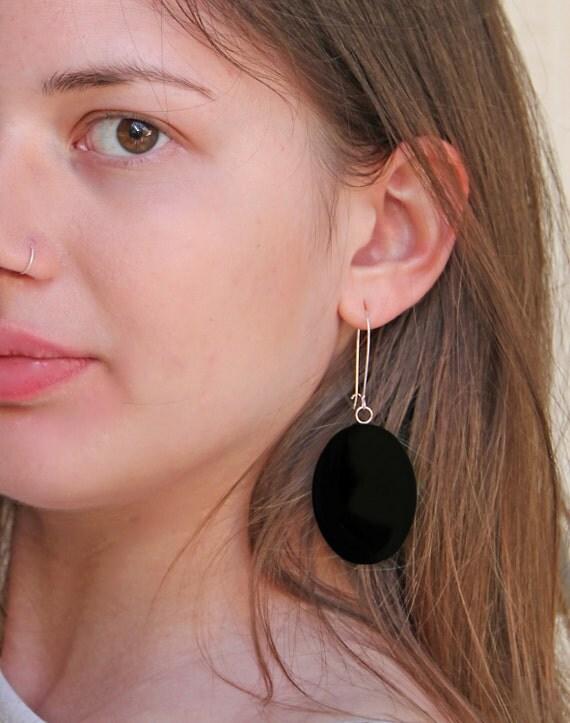 Onyx black earrings, long earrings, black resin earrings, modern minimalist, lightweight earrings, big oval earrings, surgical steel wires
