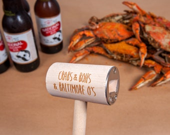 Crab Mallet and Craft Beer Bottle Opener featuring Baltimore, Maryland Baltimore Orioles