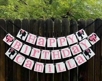 Happy Birthday & Custom Name / Birthday Party / Baribie with Bows / Happy Birthday Decor / Photo Prop / Childrens Party / Barbie Silhouette