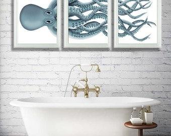Bathroom Decor 2 Octopus Prints NAVY Blue /Cream Nautical