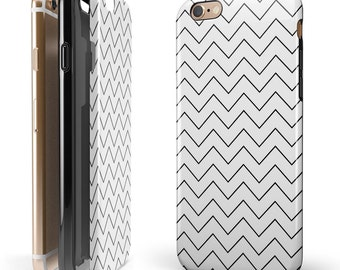 Thin Slate Black Zig Zags- Candy Shell Hybrid Two-Piece iPhone Case