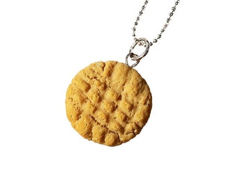 Peanut Butter Cookie Necklace, Food Jewelry, Necklace, Mini Food, Miniature Food Jewelry, Foodie, Gift Ideas, Gifts for Her, Polymer Clay