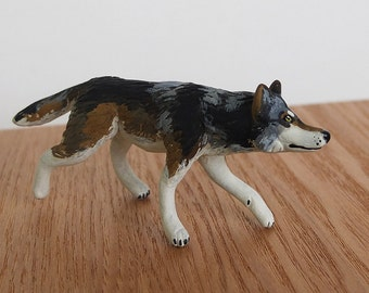 Ready to Ship! Trotting Timber Wolf - OOAK Paper Clay Wolf Totem Animal Sculpture