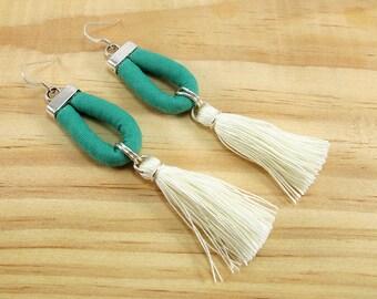 Tassel earrings, Large statement earrings, Turquoise and cream, Cotton fabric jewelry, Sterling silver, Handmade tassel earrings Lightweight