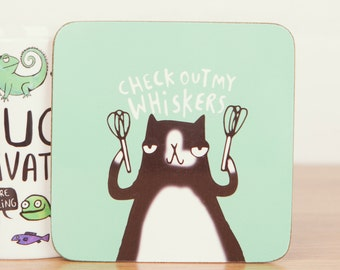 Check out my Whiskers - Cute Coaster - Pun Coaster - Cat Coaster - Gift for him - Gift for her - Cat gift - Teen Gift - Mat - Katie Abey