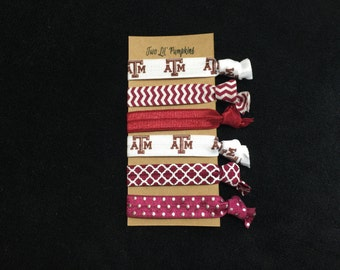 Texas A&M Aggies Hair Ties - Maroon Out Hair Ties - Maroon Elastic Hair Ties - Aggie Football Wrist Ties - Toddler - Child - Teen - Adult