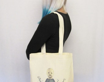 Creepy Goth Tote Bag Dolloctopus Creepy Doll Macabre Gift Gothic Canvas Tote Bag Cool Gifts For Goths Cool Reusable Bag