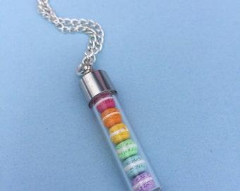 Rainbow Macaron Necklace Polymer Clay, Miniature Food Jewelry, Food Jewelry, Macaron Necklace