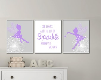 Baby Girl Nursery Art Print, Fairy and Quote Nursery Art Suits Purple and Grey Nursery Decor and Bedroom Decor - H173